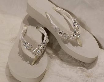 Sparkling Low Ivory Bridal Flip Flops - White Flip Flops with Pearls and Rhinestones Bridal Flip Flops Beach Wedding Sandals Bridal Sandals