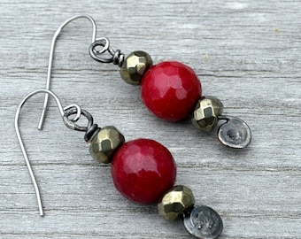 Red Jade Dangle Earrings, Red Jade & Pyrite Bead Earrings, Faceted Red Beads, Casual or Dressy Style, Boho Style, Natural Gems (2718)