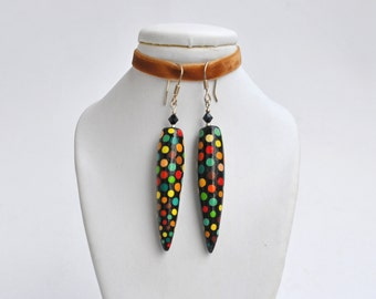 Icicle earrings, handpainted polka dot icicle earrings (ready to ship)