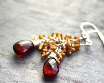 Spessartite Garnet Earrings Sterling Silver Cluster Cascade Orange Red Autumn Jewelry Faceted Bead