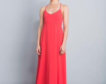 Red maxi dress, formal prom dress, open back dress, party dress, Spaghetti straps, pink gown, fit top. v neck, long full skirt, empire dress