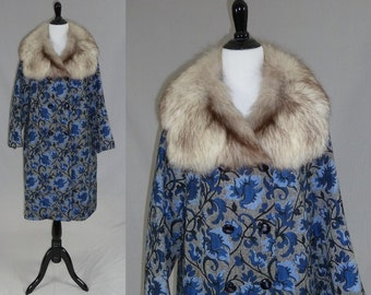 60s Tapestry Coat - Big Fluffy Fur Collar - Shades of Blue - Vintage 1960s - L XL