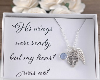 Baby Memorial Jewelry, his wings were ready but my heart was not, sterling silver necklace, heart & baby feet, wing, birthstone