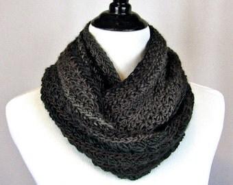 Cowl, Infinity Scarf, Crocheted, Merino Wool, Nylon Blend Yarn, Charcoal, Plum, Warm, Cozy Wrap, Winter Wear, Handmade, Gift, Scarf