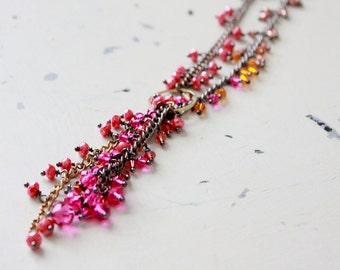 Lariat Necklace, Pink Orange Necklace, Statement Boho Necklace, Boho Bold Necklace, Colorful Boho Necklace, Bohemian Chic Necklace