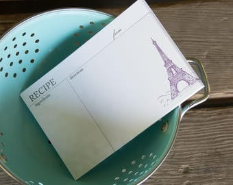 Eiffel Tower Recipe Cards, modern design (Letterpress printed, 4x6 inches) set of 10, perfect gift, organize recipes