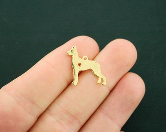 4 Dog Charms Gold Tone Great Dane Dog Breed 2 Sided Heart Cutout - GC1091