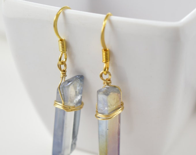 Denim Blue Rainbow Aura Quartz Crystal Point Earrings