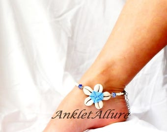 Cowrie Flower Anklet Beach Ankle Bracelet Blue Anklet Flower Anklet Beach Body Jewerly