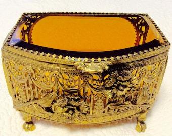 "Large Gold Ormolu Filigree Amber Beveled Glass Jewelry Box Casket Footed 7.5"" Long"