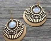 Moonstone & Brass Earrings || Dangle Earrings