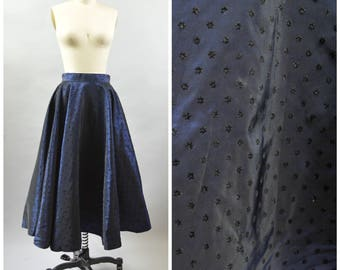 "Fabulous 1950s Circle Skirt 28"" Waist Lustrous Iridescent Blue and Black Flocked Floral Polka Dots Crisp and Swishy Taffeta"