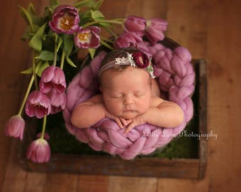 Newborn Headband, Tieback Beige Tan Berry Flower, Newborn Tieback, Newborn Photo Prop, Tie Back Headband, Flower Tieback, Halo, Fuchsia