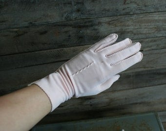 Vintage Pink Cotton Driving Gloves - Gatsby Gloves - Lawn Party Gloves