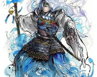 8x10 PRINT Samurai crossover Greek God Poseidon with Trident