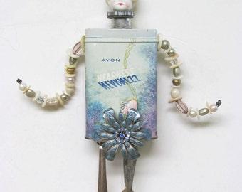 Vintage Tin Frozen Charlotte Original Assemblage Art Doll