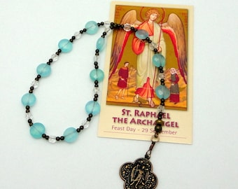 Raphael the Archangel Chaplet in Blue Opal Czech Glass with Bronze Medal