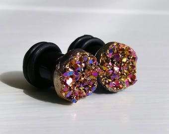 Amethyst & Gold Crystal Plugs for Gauged Ears, sizes 00g, 0g, 2g, 4g, 6g, earrings, 10mm, 8mm, 6mm, 5mm, One (1) Pair
