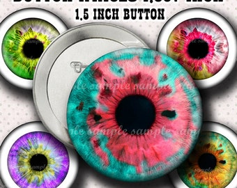 INSTANT DOWNLOAD Colorful Eyes (798) Button Size Images 1,837 Inch (1,5 inch Button) Digital Collage Sheet for Badges Buttons