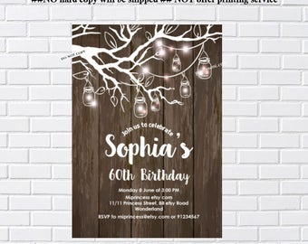 Rustic Birthday Invitation, jar , tree branch,  for any age, vintage wood design 30th 40th 50th 60th 70th 80th 90th invitation - card 1114