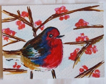 OOAK Aceo - Choice - Grafitti Rose or Winter Robin