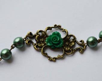 SALE -Vintage style green rose flower bracelet