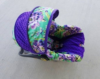 Girl baby car seat cover / Purple floral / Infant car seat canopy / infant seat cover/ Custom made car seat cover/ Baby shower gift