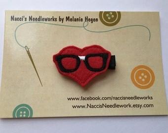 Valentine's Felt Hair Clip- Nerdy Eyeglasses Valentine Hair Clip