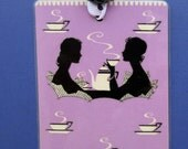 TEA or COFEE for TWO Handmade Bookmark from Vintage Playing Card & Button with Grosgrain Ribbon