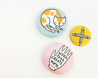 Button set of 3 - badges | cat button, creative pin, pencil button, cute buttons, cute pins, cat badge, small gift, cat gift, creative gift