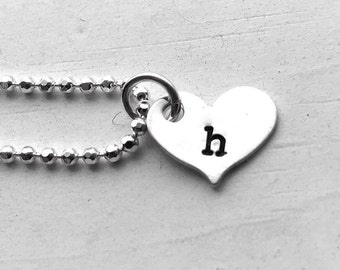 Heart Shaped Initial Necklace, Sterling Silver, Letter h Necklace, All Letters Available, Hand Stamped Jewelry, Gifts for Her, Personalized