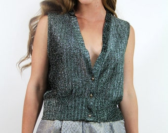Vintage 70's Knitted Vest Top Shimmery Green Metallic Top // Vintage Clothing by TatiTati  Style on Etsy