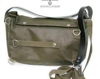Military vintage Upcycled Swiss Gas Mask Bag