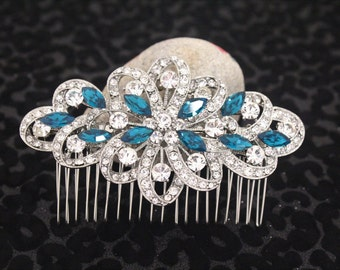 Wedding hair jewellery,Indicolite color crystal Wedding hair comb,Bridal hair accessories,Wedding hair clip,Bridal comb,Wedding hair flower