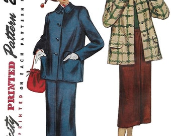 Simplicity 2635 Misses 40s Two Piece Suit Jacket with Skirt Suit Sewing Pattern Bust 30