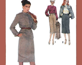 Simplicity 9171 Misses' 70s Long Skirt, Collar Bouse and Lined Jacket Sewing Pattern Size 12 Bust 34