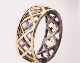 Gold Wedding Band, Men's 14K Gold and Oxidized Silver Wedding band, Wedding ring, black and gold ring, grooms band, two tone band, grid 5