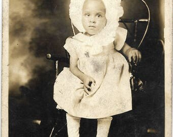 Vintage Photograph of  African American Big Bonnet Baby