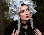 White & Silver 'Ice Bloom' Winter Snow Ice Queen Couture Headdress