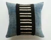 RESERVED for EJ - Black and Faded Indigo Mudcloth Pillow Cover - African Tribal Pillow - Moder Bohemian Decor