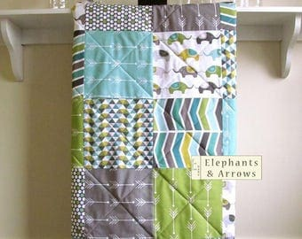 Elephant Baby Quilt, Arrows, Gender Neutral, Minky Back, Modern Baby Quilt, Baby, Toddler, Grey, Aqua, Green, Olive, White, Crib Bedding