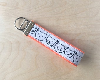 Fabric wristlet keychain, key fob - Kitty Cartoon