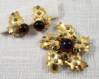 William deLillo Gold Tone Turquoise Green and Purple Cabochon Leaves Brooch and Earrings Set