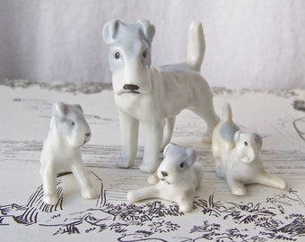 Vintage Fox Terrier Dog Figurines Mom and Puppies Germany Miniature Porcelain 1930s