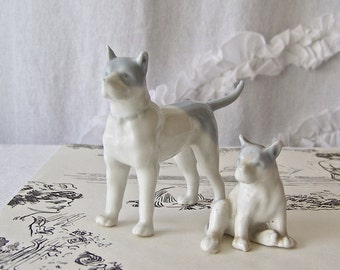 Vintage Shepherd Dog Figurines Mom and Puppy German Shepherd Miniature Porcelain Figurines 1930s