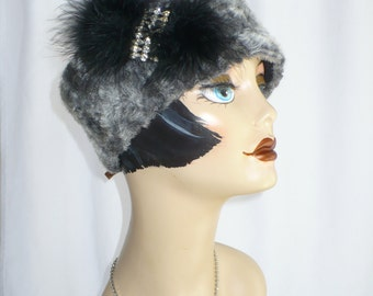 Faux Fur Pillbox Hat-upcycled