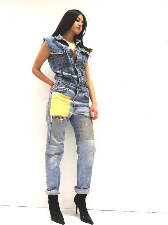 Jean Jumpsuit Vintage Denim Jeans LOLA DARLING Lee Jacket + levi's 517 Vintage Recycled Fabric Patch Yellow and Gray, drawn on the back