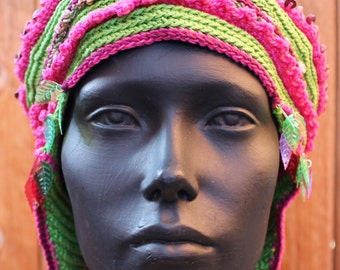 Green Pink Burgandy Crocheted Hat with Dangling Rose Spheres...