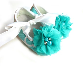 3-6 Months Turquoise Embellished Baby Ballet Flats - Ready To Ship!