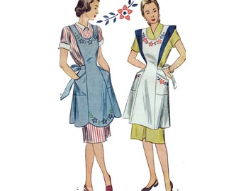 "1940s Full Apron Sewing Pattern Pockets Back-Cross Straps Floral Embroidery Transfer Size Medium Bust 34-36"" (86-89 cm) - Simplicity 1794"